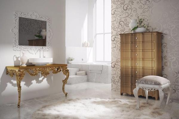 新古典洗手台 新古典卫浴用品 雕花镜框 洗手台 化妆凳 斗柜 浴缸
