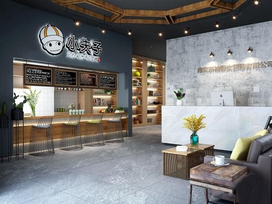 工业风奶茶店 工业风餐饮空间 前台 接待台 等候区 多人沙发 茶几 边几 招牌 吧台 吧椅 奶茶店 咖啡店