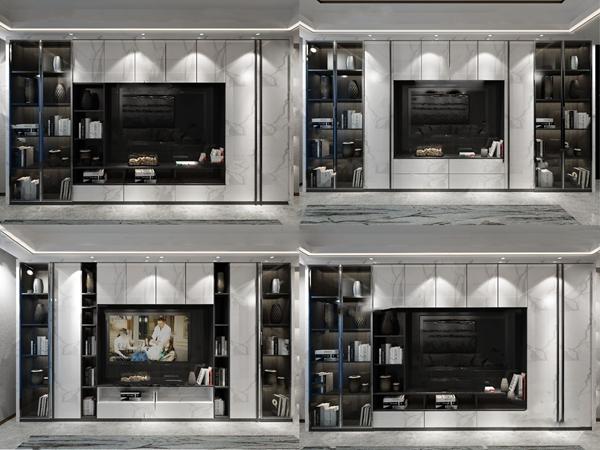 现代大理石电视背景墙3d模型