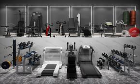 现代跑步机哑铃拳击健身器材组合3D模型