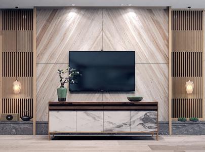 新中式電視柜背景墻組合 新中式電視柜 格柵屏風 吊燈 花藝 電視機 電視背景墻 飾品擺件