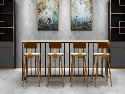 现代时尚艺术椅子 现代吧椅 吧台 挂画