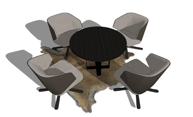 洽谈桌椅SU模型