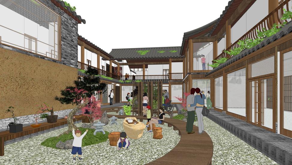 四合院庭院景观SU模型