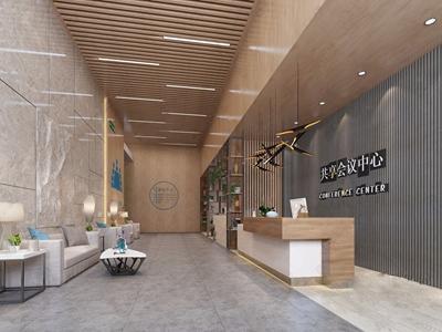 现代大厅 现代商业零售 接待台 多人沙发 茶几 边几 吊灯 台灯 铁艺隔断