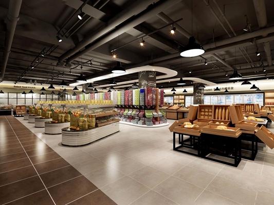 现代超市面包区 现代商业零售
