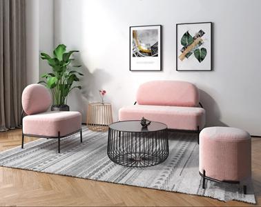 北欧铁艺鹅卵石沙发 北欧多人沙发 圆茶几 脚凳 单人沙发 挂画 绿植 圆几 铁艺沙发 鹅卵石沙发