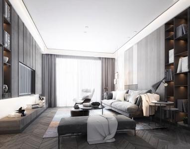 现代黑白客厅 现代客厅 多人沙发 茶几 边几 脚凳 台灯 吊灯 单人沙发 休闲沙发