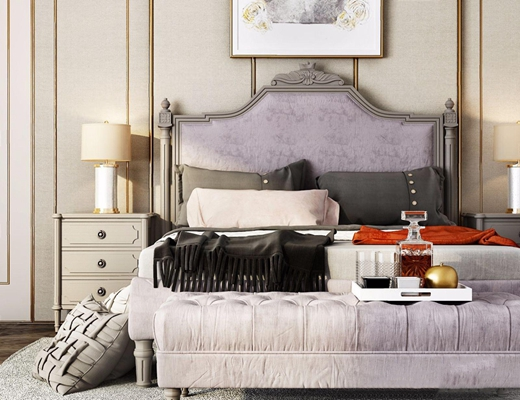 美式双人床 美式双人床 床头柜 台灯 床尾凳 挂画 床品 抱枕