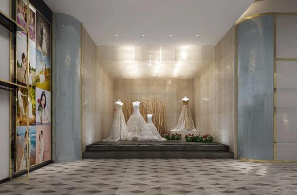 現代婚紗店 現代商業零售 婚紗店 前臺接待 櫥窗 婚紗 接待區 單人沙發 茶幾 吊燈 臺燈 試衣鏡