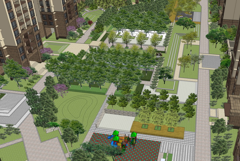 高榜山一號現代小區景觀SU模型