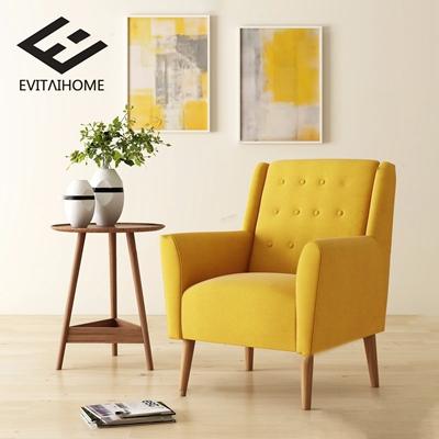 EVITA HOME 北欧单人沙发 北欧单人沙发 边几 挂画 绿植 圆几 布艺沙发 EVITA HOME