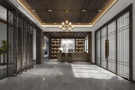 新中式酒店大堂 新中式前台大堂 餐厅 接待台 吧椅 装饰柜 隔断 餐桌 单椅 边柜 吊灯