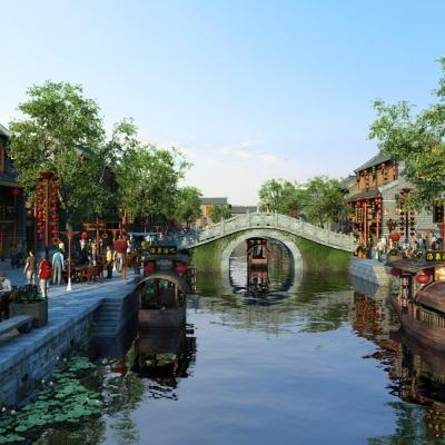 新中式古镇商业街外观3D模型