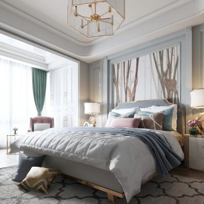 美式双人床床头背景沙发吊灯