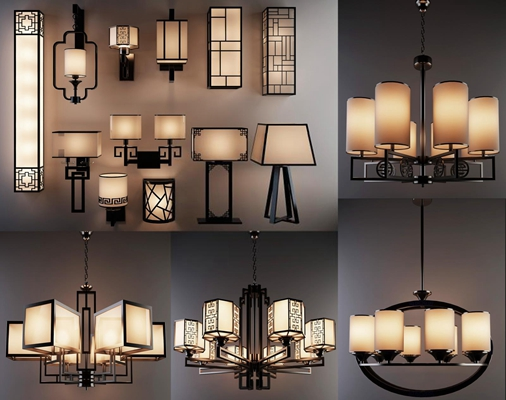 現代新中式吊燈酒店茶樓走廊壁燈臺燈組合 新中式吊燈 中式壁燈