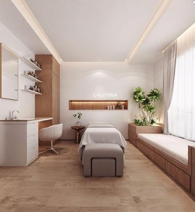 现代SPA美容包间 现代spa 按摩床 榻榻米 洗漱台 休闲椅 绿植 美容院 包间