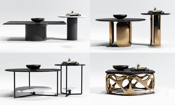 現代金屬大理石茶幾組合3d模型