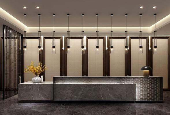 上上国际设计新中式吧台 新中式售楼处 吧台 吊灯 台灯 花艺 背景墙 隔断 上上国际设计