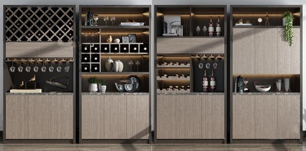 现代实木酒柜3d模型