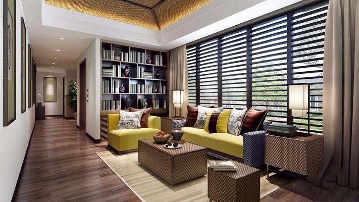 东南亚风格别墅过道休闲区 东南亚娱乐室 双人沙发 单人沙发 茶几 凳子 台灯 书架 边几 壁柜 书 饰品 摆件