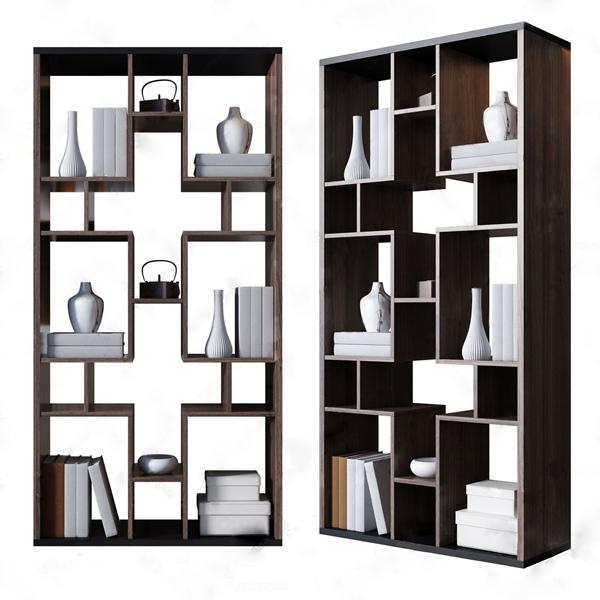 新中式装饰柜摆件组合 新中式装饰架 博古架 书 花瓶