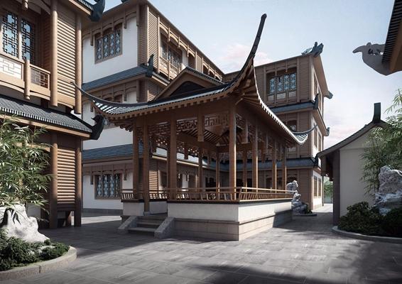 中式客栈 中式建筑 亭子 石头 竹子