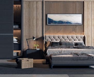 现代双人床床头柜组合 现代双人床 衣柜 床头柜 编织框 台灯 装饰画 床尾凳 衣服 花艺
