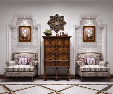 美式复古边柜玄关柜 美式边柜/玄关柜 大型单人美式沙发 陶艺摆件 八角花格金属墙饰
