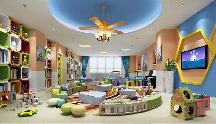 幼儿园 幼儿园 托儿所 玩具 桌椅 吊扇 吊扇灯 书柜 壁柜 沙发