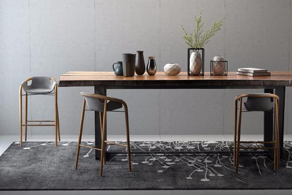 现代实木桌子吧椅组合 现代桌椅组合 吧椅 装饰摆件 地毯