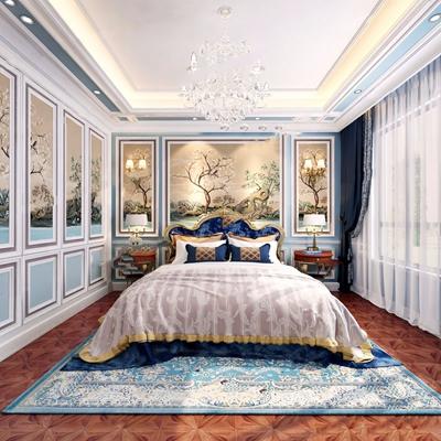 法式臥室 法式臥室 雙人床 床頭柜 吊燈 臺燈 背景墻 地毯 窗簾