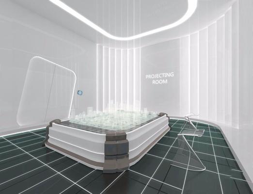 科技办公空间前台 现代前台接待 展厅 展馆 科技馆 科幻 沙盘