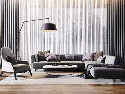现代沙发单椅茶几组合 现代组合沙发 转角沙发 茶几 休闲椅 落地灯