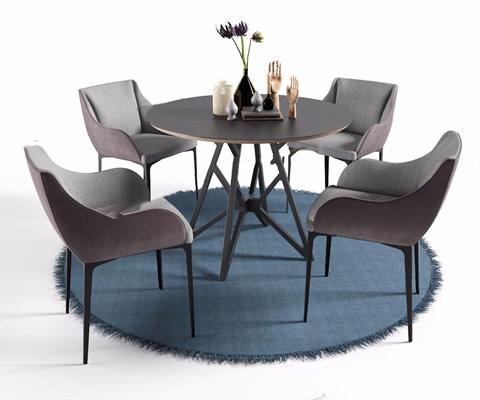 北欧圆桌椅餐具椅子组合 北欧桌椅组合 圆桌子 餐具 椅子 圆形地毯