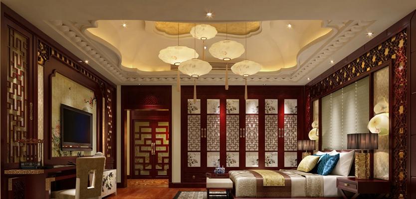 传统中式长方形红木衣柜