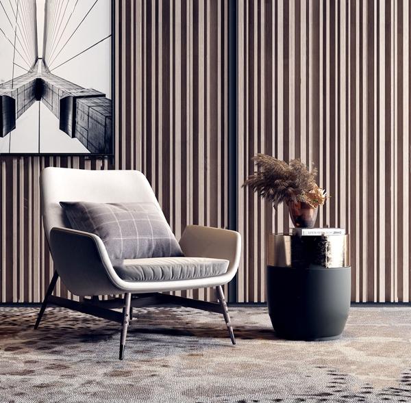 现代休闲椅角几组合3d模型