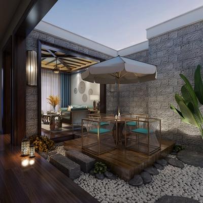 新中式花园 新中式休闲桌椅组合