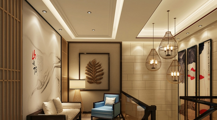 新中式休息室 新中式金属吊灯
