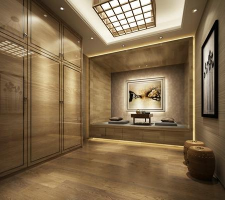 新中式休息室 新中式原木色圆柱形木艺凳子 新中式木艺榻榻米床 木艺壁画