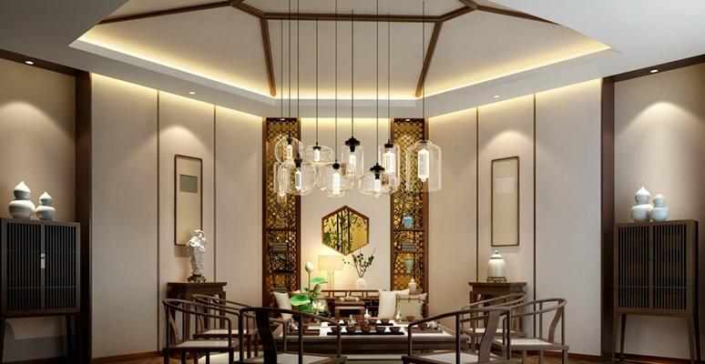 新中式棕色长方形木艺餐边柜