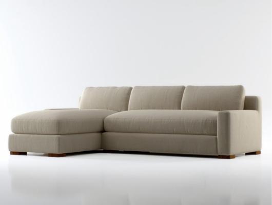 现代米色布艺三人沙发