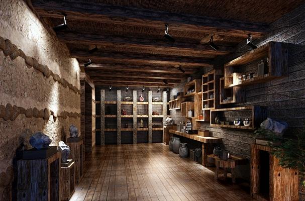 传统中式古董店 棕色木艺置物架