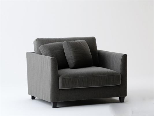 现代灰色布艺单人沙发
