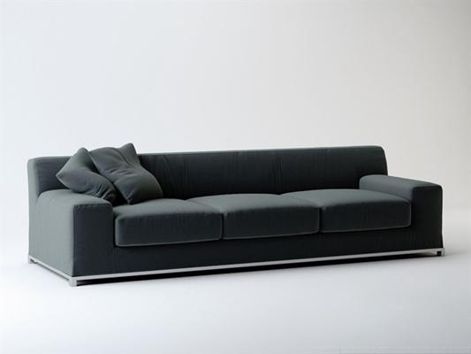 现代灰色布艺三人沙发