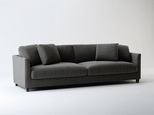 现代灰色布艺双人沙发
