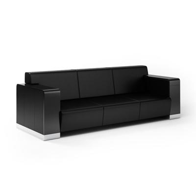 现代黑色长方形皮质三人沙发