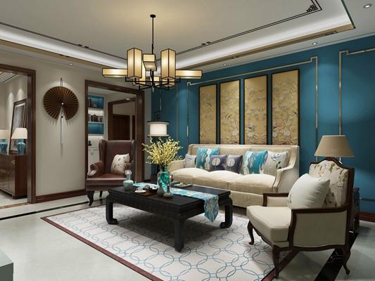 新中式白色布艺单人沙发