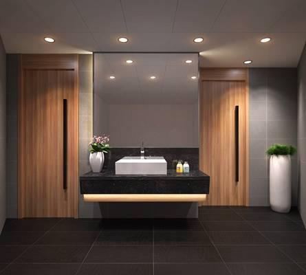 现代原木色公共卫生间 白色小便斗 洗面盆