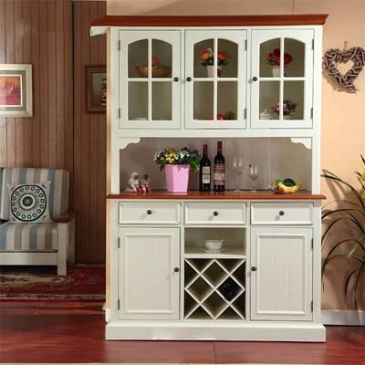 传统美式白色木艺餐边柜